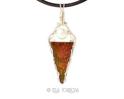 Rare,Ammolite,Pendant,with,Pearl,Handmade,Sterling,Silver,Wire,Wrapped,Jewelry,Wrap, Ammolite Pendant, ammolite, Pearl, Handmade, Sterling Silver, Wire Wrapped Jewelry, Wire Wrap, wirewrapped, wire wrapped pendant, wire wrapped ammolite