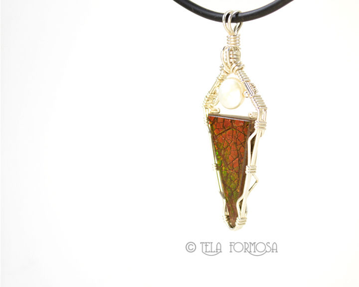 Rare Ammolite Pendant with Pearl Handmade Sterling Silver Wire Wrapped Jewelry Wire Wrap - product images  of