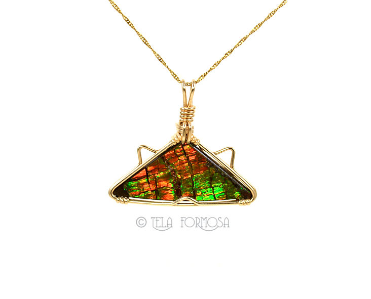 RESERVED Ammolite Pendant 14k GF Wire Wrapped Handmade Natural Gemstone - product images  of