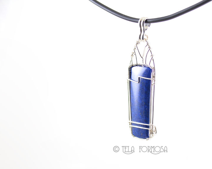 Unisex Men's Blue Lapis Pendant Natural Stone Cabochon Gemstone Wire Wrapped Handmade - product images  of