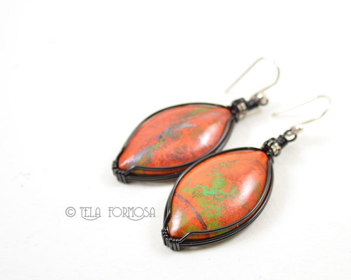 Rare Sonora Sunrise Earrings Red Orange Green Black Stone Cabochon Wire Wrapped Jewelry - product images  of