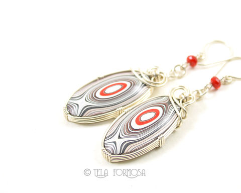 Fordite,Earrings,Red,Black,White,Bulls,Eye,Sterling,Silver,Wire,Wrapped,Cabochon,Fordite Earrings, fordite, Red, Black, White, Bulls Eye, Sterling Silver, Wire Wrapped, Cabochon, wire wrapped earrings, cabochon earrings, detroit agate, wire wrap,