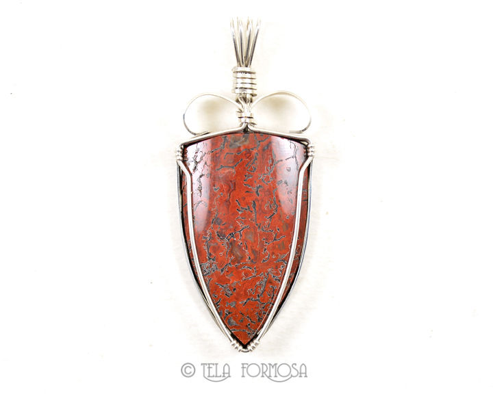 Red Dinosaur Bone Pendant Sterling Silver Unique Wire Wrapped Handmade Cabochon Jewelry - product images  of