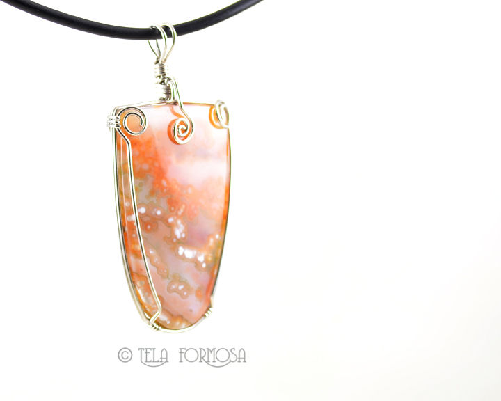 Rare Ocean Jasper Pendant Handmade Wire Wrapped Natural Stone Cabochon Sterling Silver - product images  of