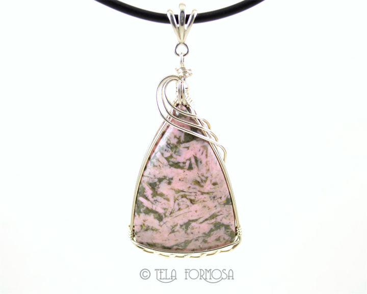 Pink Thulite Pendant Green Zoisite Natural Stone Handmade Sterling Silver Wire Wrapped - product images  of