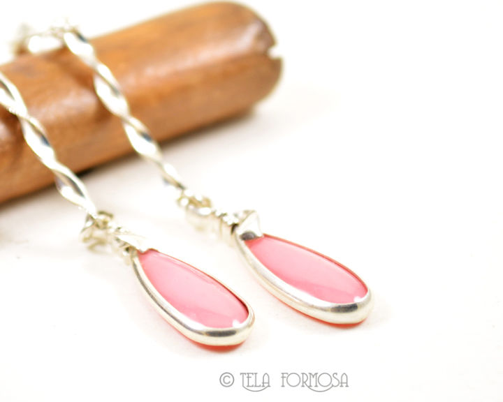 Very Rare Bustamite Earrings Angel Skin Pink Post Style Sterling Silver Wire Wrapped Handmade - product images  of
