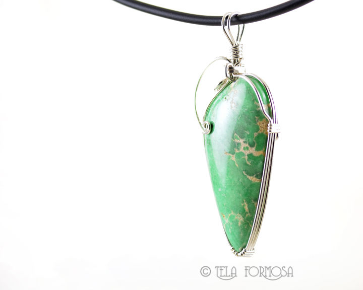 Green Variscite Pendant Handmade Sterling Silver Wire Wrapped Natural Stone Cabochon - product images  of