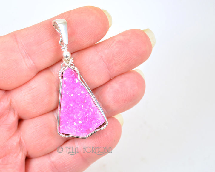 Hot Pink Druzy Cobalto Calcite Pendant Natural Stone Cabochon Sterling Silver Wire Wrapped - product images  of