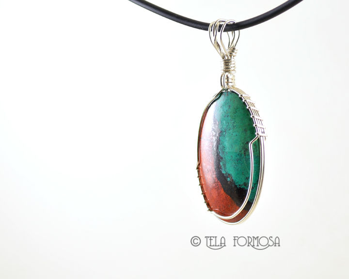 Sonora Sunrise Pendant Wire Wrapped Sterling Silver Handmade Natural Stone Cabochon - product images  of