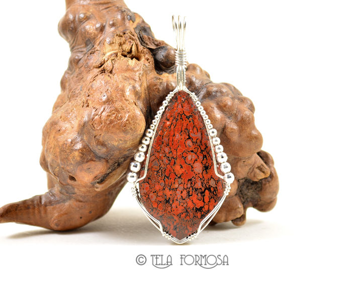 Large Red Dinosaur Bone Pendant Sterling Silver Wire Wrapped Handmade Cabochon Jewelry - product images  of