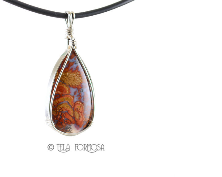 Wingate Agate Pendant Death Valley Plume Agate Sterling Silver Wire Wrapped Cabochon Jewelry - product images  of