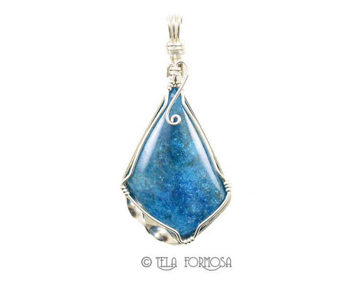 Blue Apatite Pendant Wire Wrapped Sterling Silver Handmade Natural Stone Cabochon Jewelry - product images  of