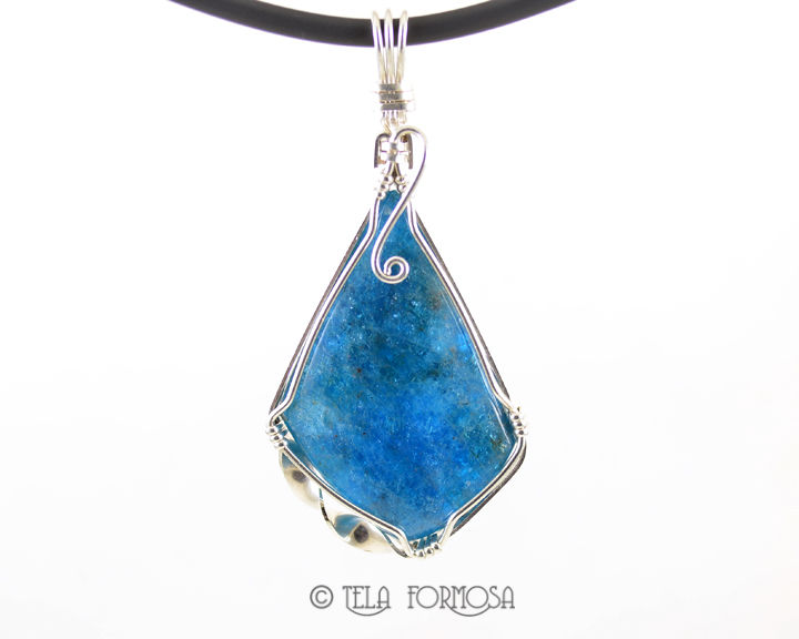 Blue Apatite Pendant Wire Wrapped Sterling Silver Handmade Natural ...