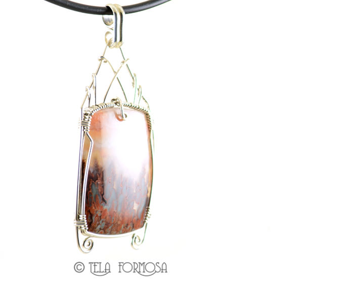 Rare Prudent Man Agate Pendant Vein 1 Wire Wrapped Handmade Sterling Silver Cabochon  - product images  of