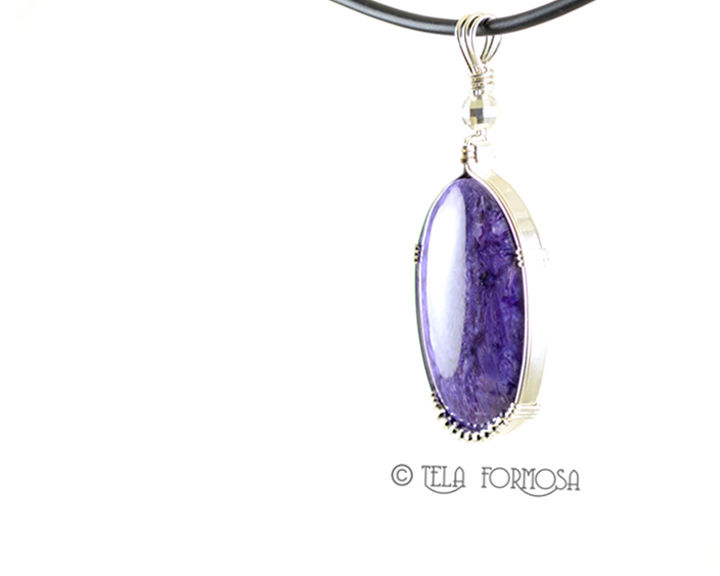 Large Rare Purple Charoite Pendant Sterling Silver Wire Wrapped Natural Stone Cabochon - product images  of