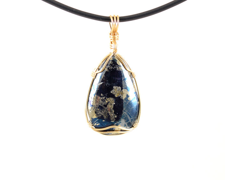 Rare Metallic Indigo Blue MT Covellite Pendant Wire Wrapped Cabochon 14k Gold Fill - product images  of