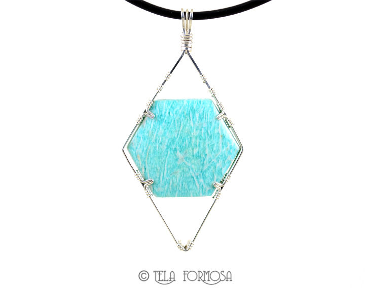 Blue Green Amazonite Pendant Natural Stone Cabochon Wire Wrapped  Sterling Silver - product images  of