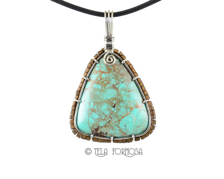 Kingman Turquoise Beaded Pendant Sterling Silver Wire Wrapped Handmade Cabochon Jewelry - product images  of