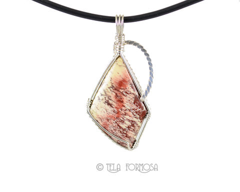 Rare,Alunite,Pendant,Red,and,White,Natural,Cabochon,Jewelry,Sterling,Silver,Handmade,alunite_Pendant,allunite,Red_and_White,Red_Natural_Stone,natural_stone,stone_Cabochon,cabochon_Pendant,Sterling_Silver,Wire_Wrapped_Jewelry,Wire_Wrapped,natural stone cabochon,sterling silver wire,Rare Arizona Alunite