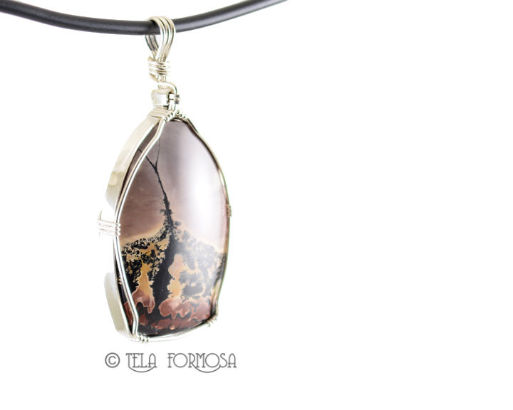 Chinese Paintbrush Nature's Paintbrush Pendant Picture Stone Jasper Sterling Silver Cabochon Jewelry - product images  of