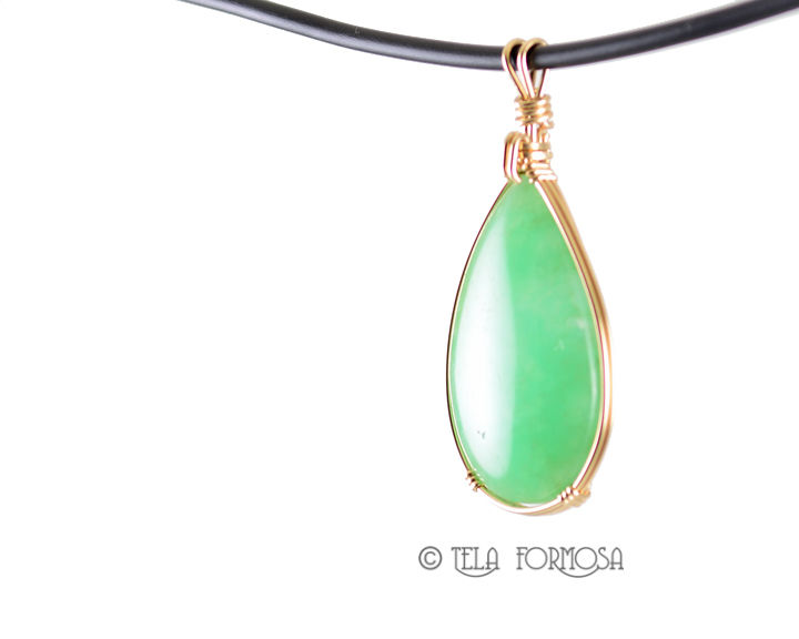 Apple Green Australian Chrysoprase Pendant 14k Gold Filled Handmade Jewelry Cabochon Pendant - product images  of