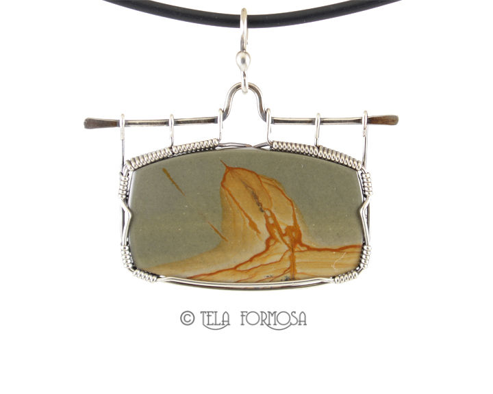 Owyhee Picture Jasper Pendant Picture Stone Scenic Cabochon Sterling Silver Handmade - product images  of