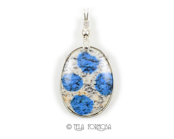 Rare K2 Jasper Pendant Blue Natural Stone Sterling Silver Wire Wrapped Cabochon - product images  of