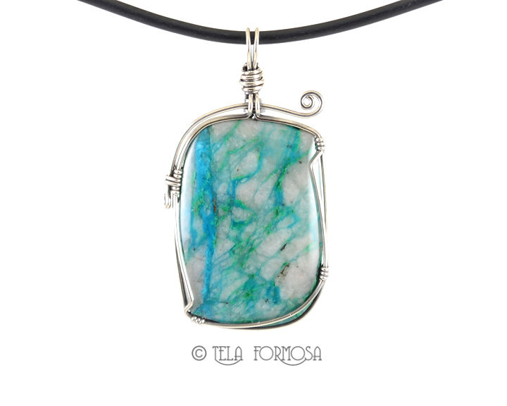 Chrysocolla Malachite Pendant in Quartz Sterling Silver Wire Wrapped Cabochon Jewelry - product images  of