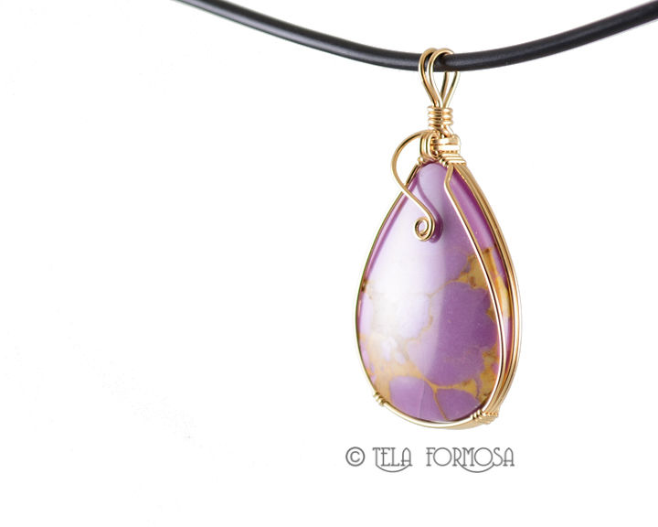 Spring Lilac Phosphosiderite Pendant Wire Wrapped Handmade 14k Gold Filled 14k gf - product images  of