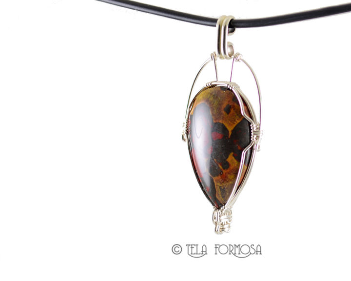 Rarest Morgan Hill Poppy Jasper Pendant Red Black Sterling Silver Wire Wrapped Cabochon - product images  of