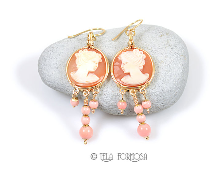 Handmade Round Shell Cameo and Pink Queen Conch Earrings 14k GF Wire Wrapped Jewelry - product images  of