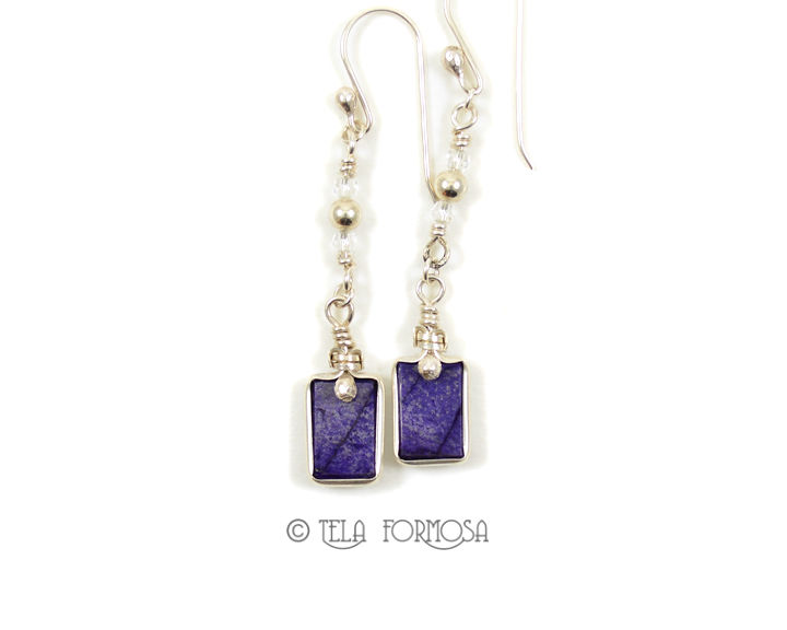 Dangly Long Purple Sugilite Earrings Natural Stone Cabochon Sterling Silver Wire Wrapped - product images  of