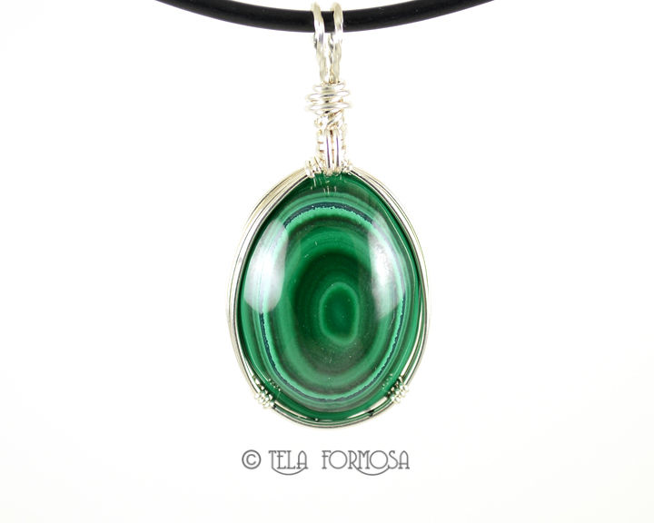 Bull's Eye Malachite Pendant Natural Green Stone Sterling Silver Wire Wrapped Cabochon - product images  of