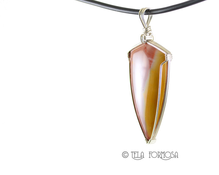 Mookaite Pendant Mookite Colorful Jasper Red & Yellow Natural Stone Sterling Silver Wire Wrapped - product images  of