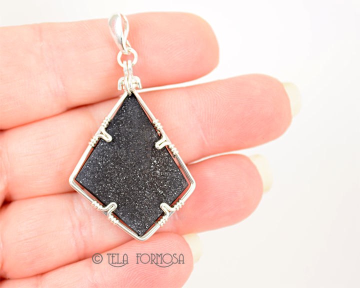 Black Druzy Rare Psilomelane Pendant Handmade Jewelry Cabochon Pendant Sterling Silver - product images  of