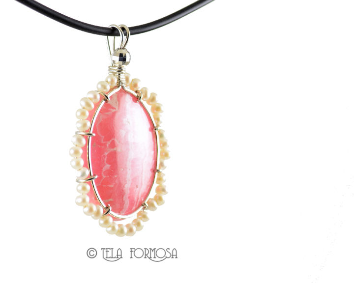 GORGEOUS Rhodochrosite Pendant Pink Natural Stone Sterling Silver Handmade Wire Wrapped - product images  of