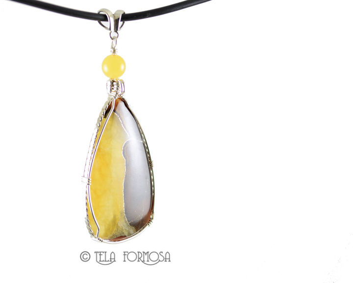 Russian Simbercite Pendant Yellow Handmade Jewelry Cabochon Pendant Sterling Silver - product images  of
