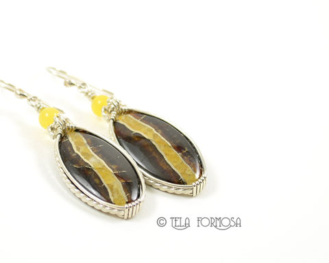 Russian,Simbercite,Earrings,Yellow,Handmade,Cabochon,Jewelry,Sterling,Silver,simbercite, russian gemstone,pendant, wire wrapped earrings, wire wrapped jewelry, cabochon jewelry, yellow earrings, sterling silver, sterling silver pendant, simbercite earrings