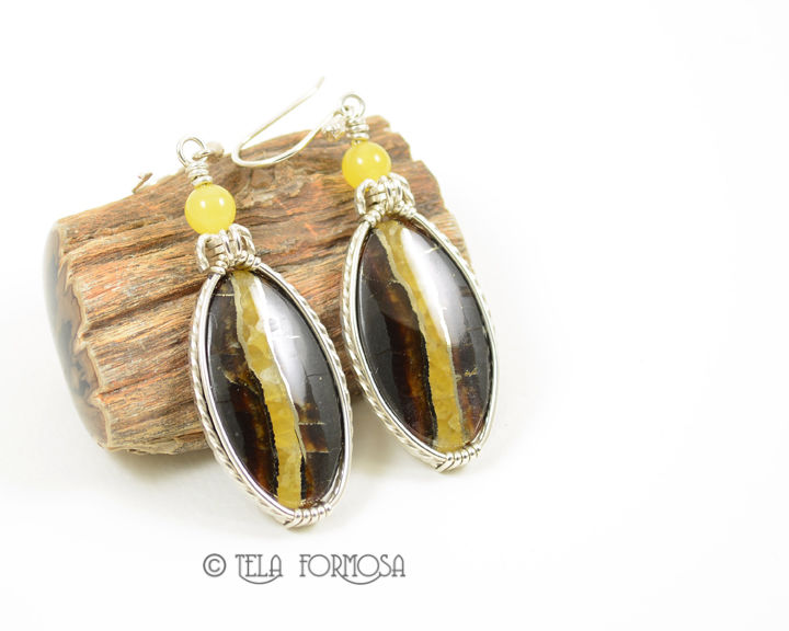 Russian Simbercite Earrings Yellow Handmade Cabochon Jewelry Sterling Silver - product images  of