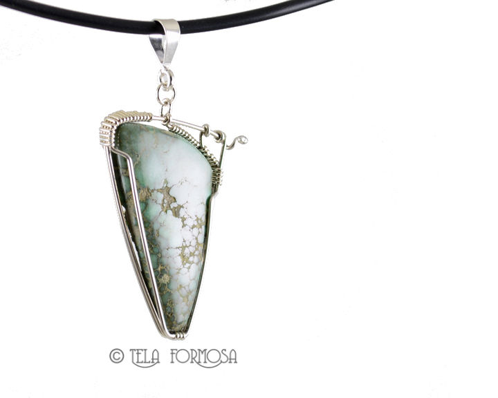 Blue Boy Variscite Pendant Handmade Sterling Silver Wire Wrapped Natural Stone Cabochon - product images  of