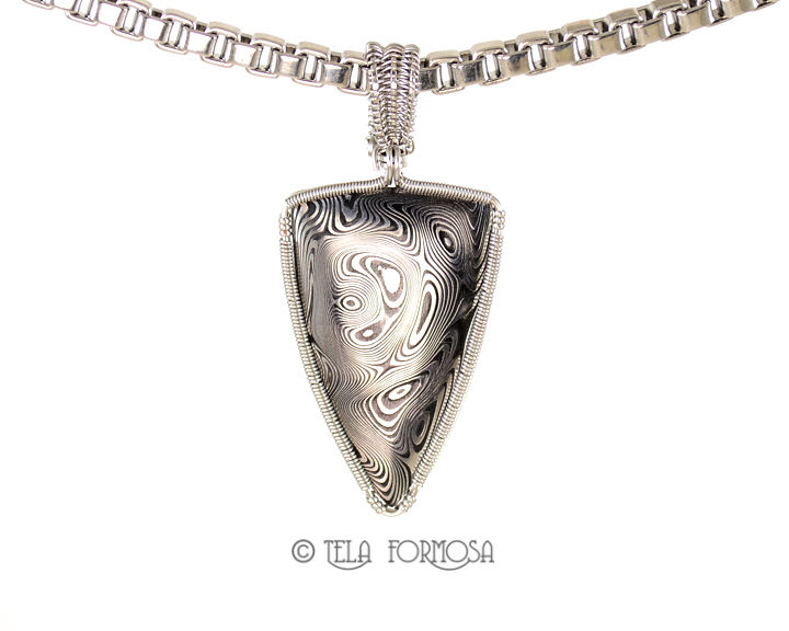 "Unisex Damascus Steel Necklace Men's Man's Unique Stainless Steel Wire Wrapped Handmade Heavy 20"" Box Chain - product images  of"