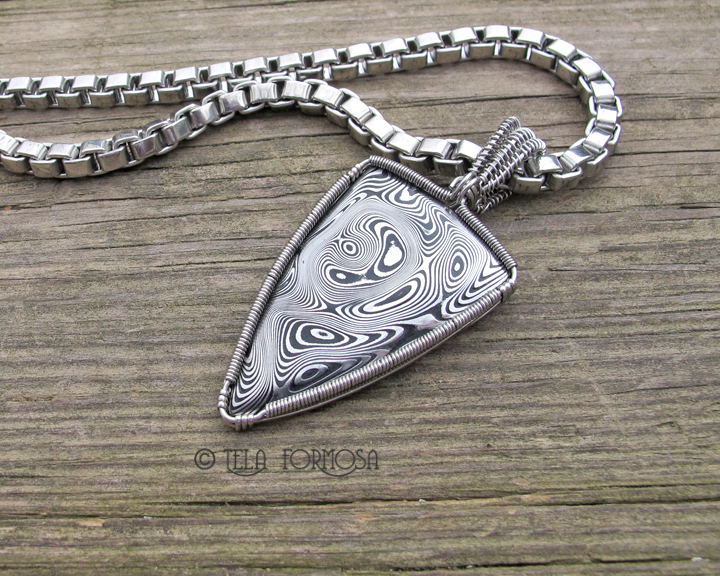 Damascus Steel Pendant in Stainless Steel