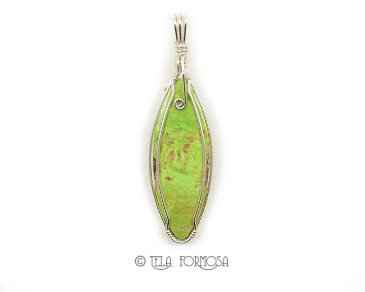 Rare Australian Gaspeite Pendant Green Sterling Silver Handmade Wire Wrapped Cabochon - product images  of