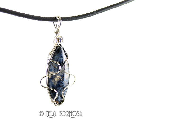 African Blue Pietersite Pendant Blue Stone Cabochon Sterling Silver Wire Wrapped - product images  of
