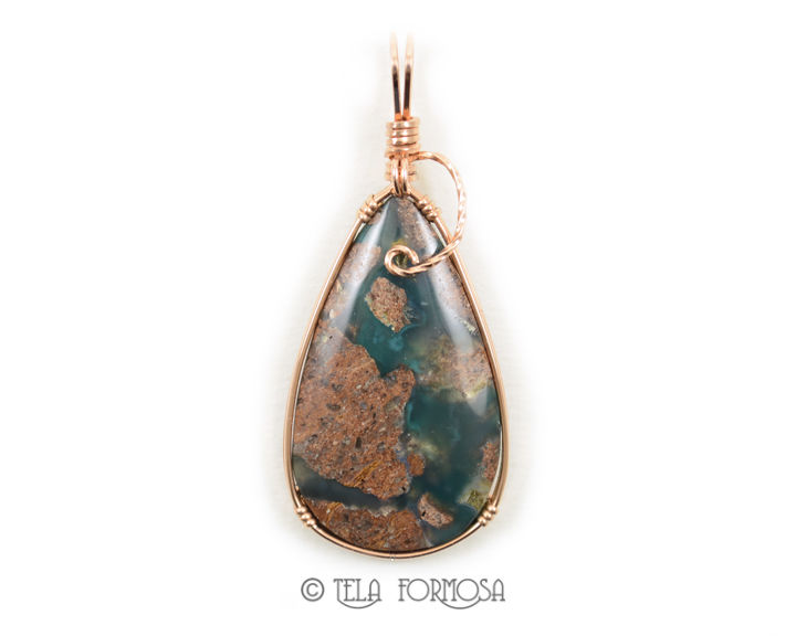 Needles Blue Agate Jewelry 14k GF Rose Gold Wire Wrapped Cabochon Pendant Handmade  - product images  of