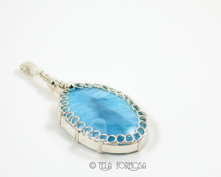 Rare BIG Larimar Jewelry Sterling Silver Wire Wrapped Handmade Cabochon Pendant - product images  of