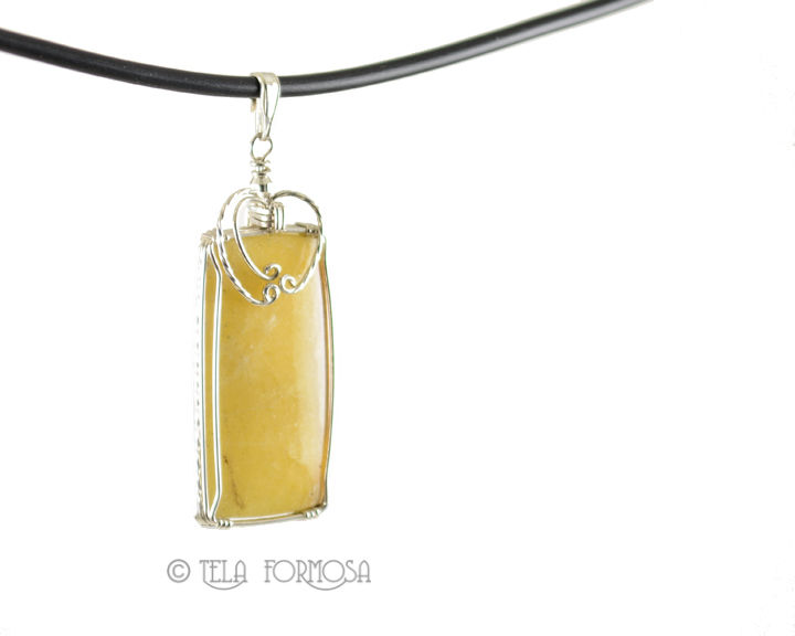 Yellow Cancrinite Pendant Natural Stone Cabochon Sterling Silver Handmade Wire Wrapped - product images  of