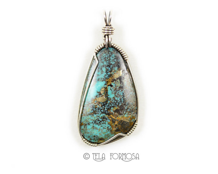 Unisex Kingman Turquoise Pendant Sterling Silver Wire Wrapped Handmade Cabochon Jewelry - product images  of