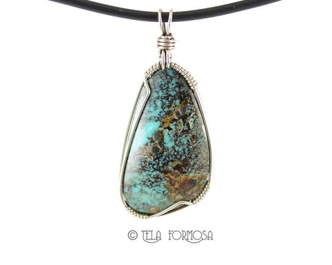 Unisex,Kingman,Turquoise,Pendant,Sterling,Silver,Wire,Wrapped,Handmade,Cabochon,Jewelry,unisex, men's, man's,Natural turquoise, genuine turquoise, kingman turquoise, blue, turquoise Pendant, Sterling Silver, Wire Wrapped, wire wrapped pendant, wire wrap pendant, cabochon jewelry, cabochon pendant