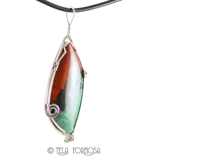 Rare Sonora Sunrise Pendant Wire Wrapped Sterling Silver Handmade Natural Stone Cabochon - product images  of